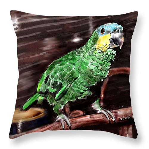 Bird Throw Pillow featuring the digital art Blue-fronted Amazon Parrot by Arline Wagner