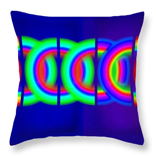 Abstract Throw Pillow featuring the painting Blue Games by Charles Stuart