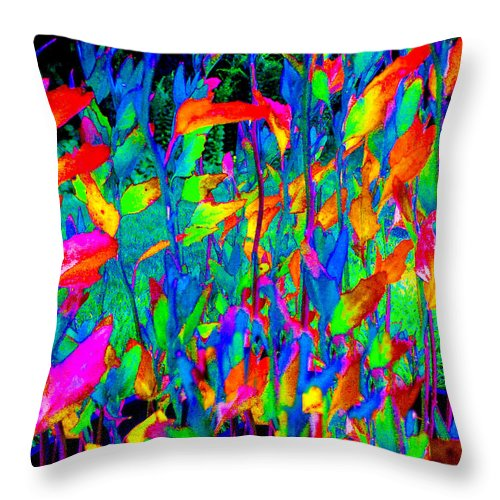 Abstract Throw Pillow featuring the photograph Blue Garden by Ali Bailey
