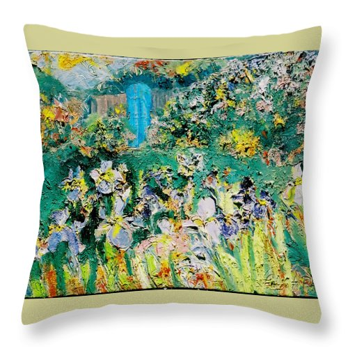 Blue Gate Iris Northern New Mexico Taos Color Floral Mountains Throw Pillow featuring the painting Blue Gate by Laurie Hill Phelps