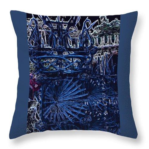 Mark J Dunn Throw Pillow featuring the photograph Blue Gate Barcelona by Mark J Dunn