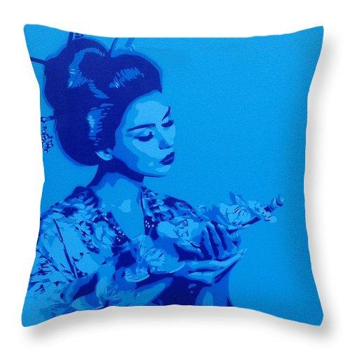 Blue Geisha Throw Pillow featuring the painting Blue Geisha by Leon Keay