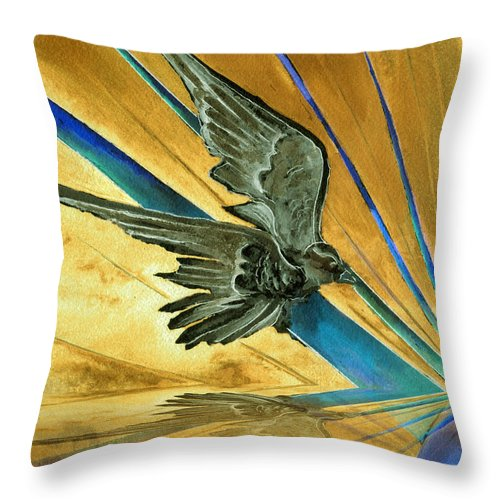 Watercolor Raven Crow Bird Sun Planet Landscape Surreal Fantasy Throw Pillow featuring the painting Blue Genesis  by Brenda Owen