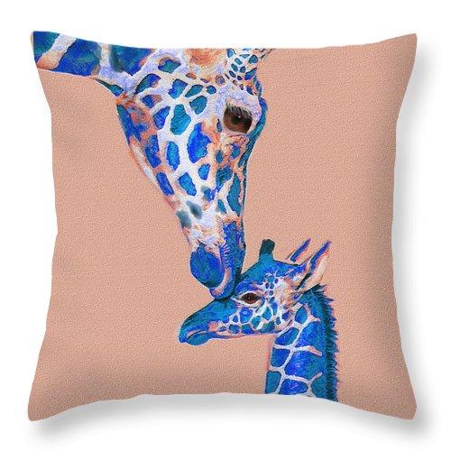Giraffe Throw Pillow featuring the digital art Blue Giraffes 2 by Jane Schnetlage