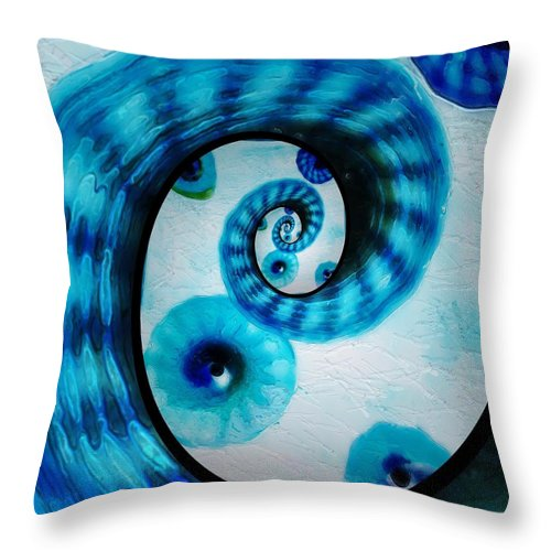 Fractal Throw Pillow featuring the photograph Blue Glass by Charles Caudillo