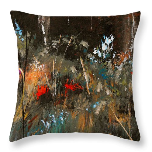 Abstract Throw Pillow featuring the painting Blue Grass And Wild Flowers by Ruth Palmer