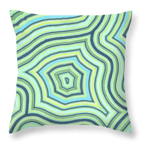Abstract Throw Pillow featuring the drawing Blue Green Pattern Play by Jill Lenzmeier