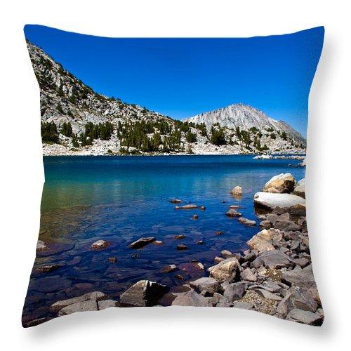 Mountain Lake Throw Pillow featuring the photograph Blue Green Treasure Lake by Chris Brannen