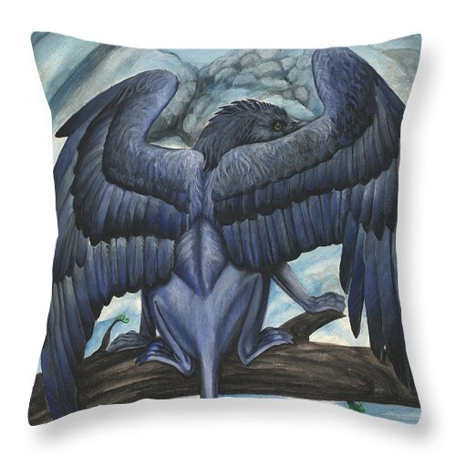 Griffin Throw Pillow featuring the painting Blue Griffin by Jennifer Hotai