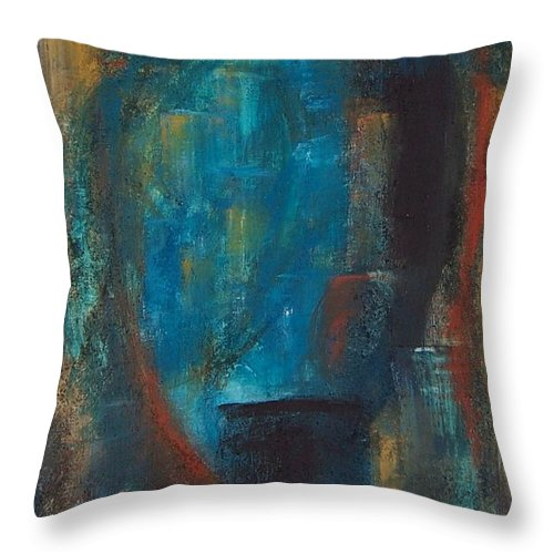 Abstract Throw Pillow featuring the painting Blue Grotto by Karen Day-Vath