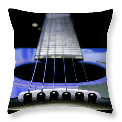 Andee Design Guitar Throw Pillow featuring the photograph Blue Guitar 14 by Andee Design