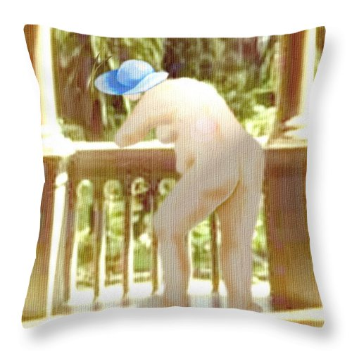 Woman Blue Hat Morning Nature Balcony Throw Pillow featuring the digital art Blue Hat by Veronica Jackson