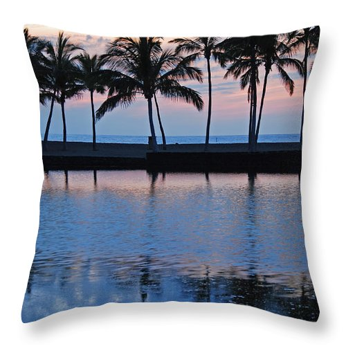 Anaehoomalu Bay Blue Hawaiian Kona Hawaii Palm Trees Landscape Photography Canvas Colors Beach Sunset Silhouette Throw Pillow featuring the photograph Blue Hawaiian by Kelly Wade