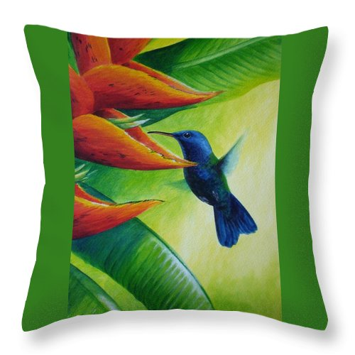 Blue-headed Hummingbird Throw Pillow featuring the painting Blue-headed Hummingbird by Christopher Cox