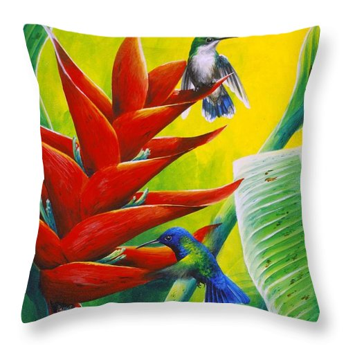 Chris Cox Throw Pillow featuring the painting Blue-headed Hummingbirds And Heliconia by Christopher Cox