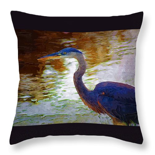 Blue Heron Throw Pillow featuring the photograph Blue Heron 2 by Donna Bentley