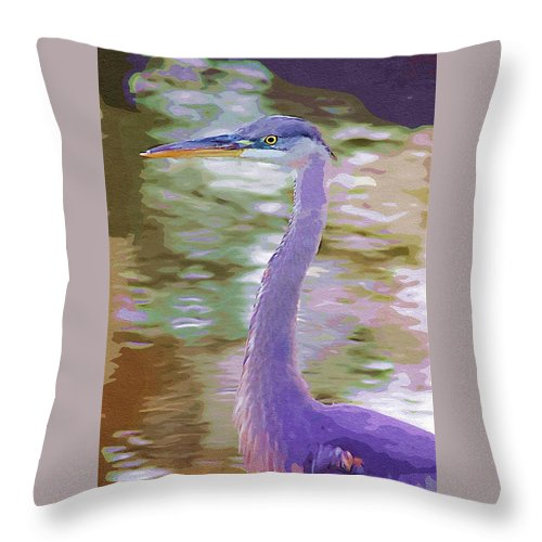 Ponds Throw Pillow featuring the photograph Blue Heron by Donna Bentley