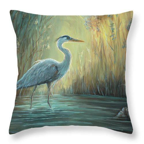 Heron Throw Pillow featuring the painting Blue Heron Fishing by June Hunt