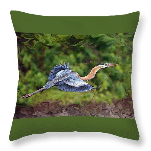Blue Heron Bird Photography Shore Flight Flying Photograph Throw Pillow featuring the photograph Blue Heron Flight by Shari Jardina