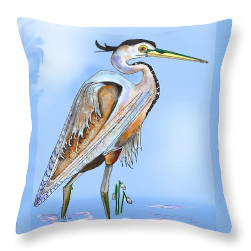 Blue Heron Throw Pillow featuring the painting Blue Heron In The Mist by Anne Norskog