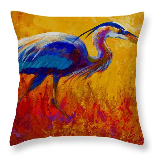 Heron Throw Pillow featuring the painting Blue Heron by Marion Rose