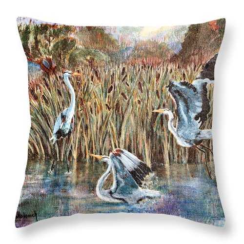 Sokolovich Throw Pillow featuring the painting Blue Herons And Cats by Ann Sokolovich