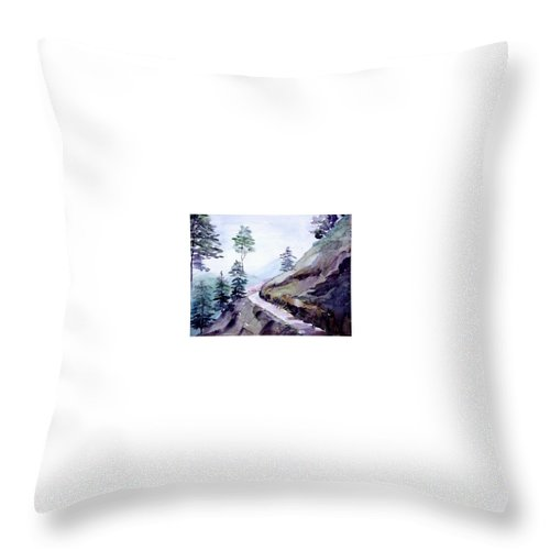 Landscape Throw Pillow featuring the painting Blue Hills by Anil Nene