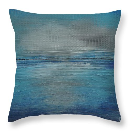 Abstract Throw Pillow featuring the painting Blue Horizon by Jimmy Clark