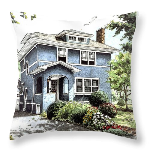 House Throw Pillow featuring the drawing Blue House by Mary Palmer