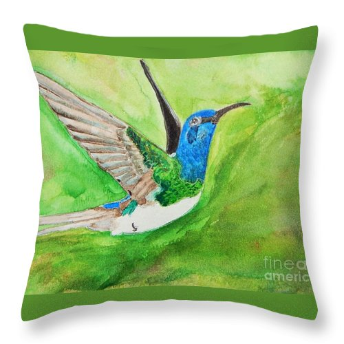 Humming Bird Throw Pillow featuring the painting Blue Humming Bird by Barbara King