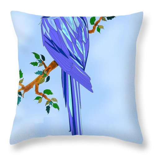 Blue Bird Throw Pillow featuring the painting Blue Hyacinth by Anne Norskog