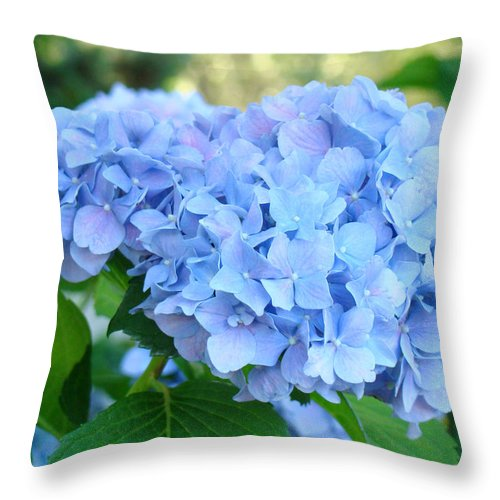 Hydrangea Throw Pillow featuring the photograph Blue Hydrangea Flowers Art Botanical Nature Garden Prints by Baslee Troutman