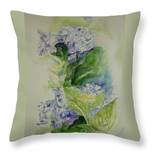 Flower Throw Pillow featuring the painting Blue Hydrangea by Lizzy Forrester