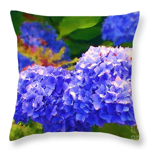 Blue Hydrangea Throw Pillow featuring the painting Blue Hydrangea by Methune Hively