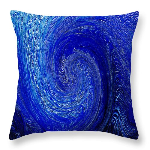 Blue Throw Pillow featuring the photograph Blue Ice Twirl-2 by Steve Somerville