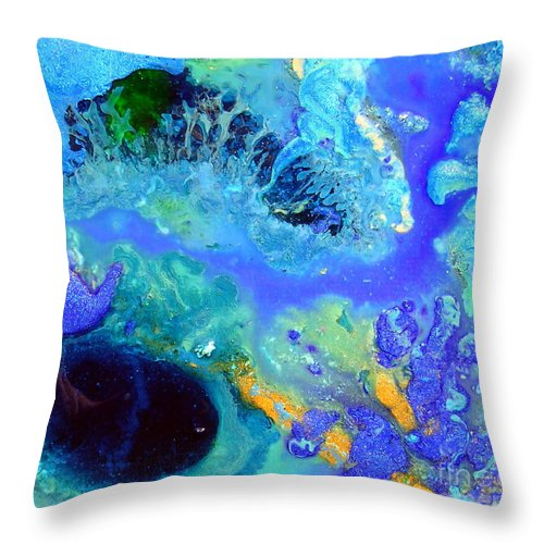 Blue Isles Throw Pillow featuring the painting Blue Isles by Dawn Hough Sebaugh