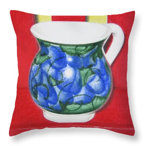 Blue Jarrito Throw Pillow featuring the painting Blue Jarrito by Lynet McDonald