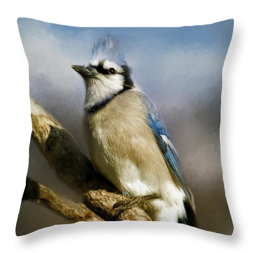 America Throw Pillow featuring the photograph Blue Jay by Lana Trussell