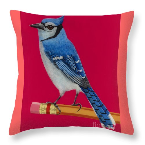 Blue Jay Throw Pillow featuring the painting Bluejay Perched On Pencil by Jackie Besteman