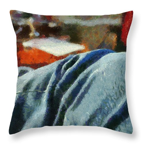 Painting Throw Pillow featuring the painting Blue Jean Morning by Paulette B Wright