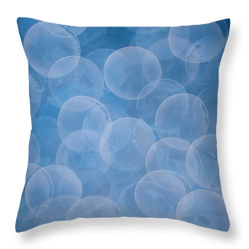 Abstract Throw Pillow featuring the painting Blue by Jitka Anlaufova