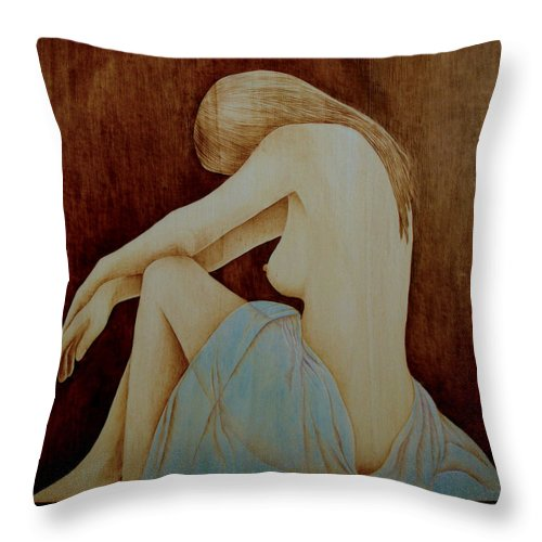 Pyrography; Woodburning; Nude; Profile; Throw Pillow featuring the pyrography Blue by Jo Schwartz