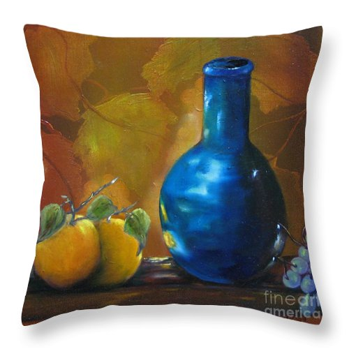Bottle Throw Pillow featuring the painting Blue Jug On The Shelf by Carol Sweetwood