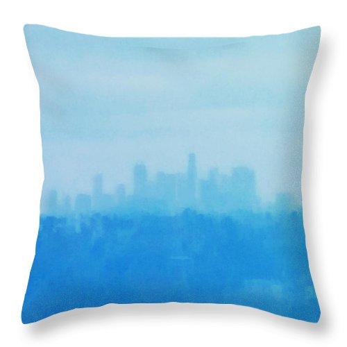 Throw Pillow featuring the photograph Blue L. A. by Steve Rosenberger