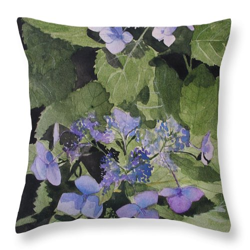 Flowers Throw Pillow featuring the painting Blue Lace by Jean Blackmer