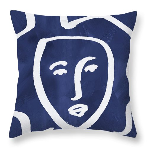Face Throw Pillow featuring the mixed media Blue Lady- Art By Linda Woods by Linda Woods