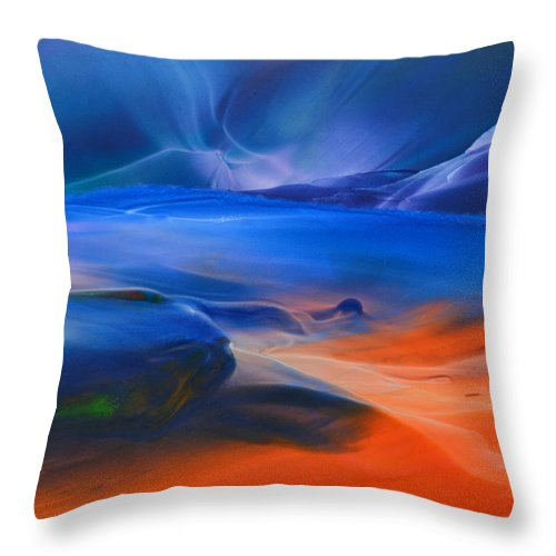 Sea Scape Throw Pillow featuring the mixed media Blue Lagoon by Maureen Thulin