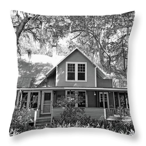 Southern Throw Pillow featuring the photograph Blue Lake House B W by D Hackett