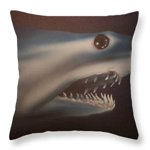 Airbrushed Throw Pillow featuring the painting Blue Lightning by Mike Moss