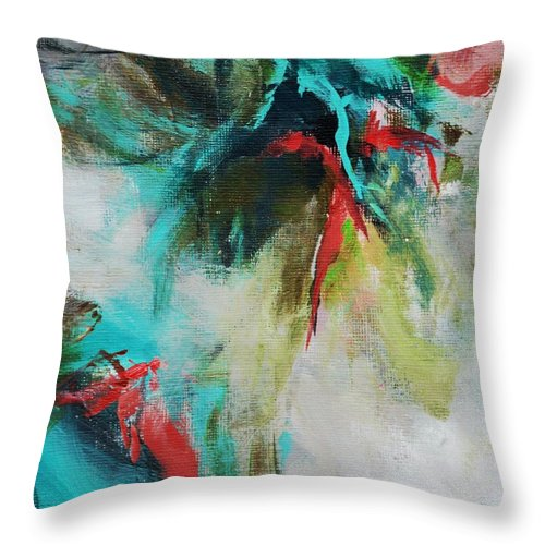 Abstract Throw Pillow featuring the painting Blue Man 2 by Suzzanna Frank